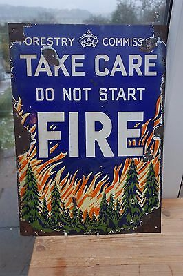 V Rare Early Forestry Commission Do Not Start Fire Pictorial  Enamel  Sign