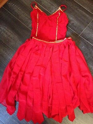 Girls Red And Gold Dance Costume Sz 3a Approx 10-14