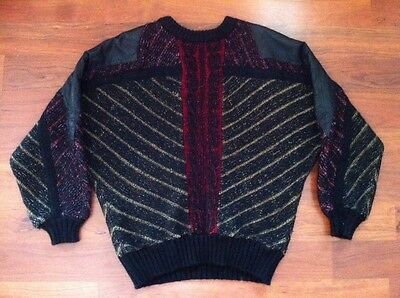 G. Hq. - Vtg 1980s Mens Red & Black Crewneck Sweater Leather Shoulders, LARGE