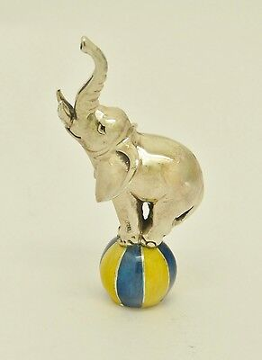 Rare Beautiful Novelty Solid Silver Miniature Elephant Painted Enamel Ball Italy