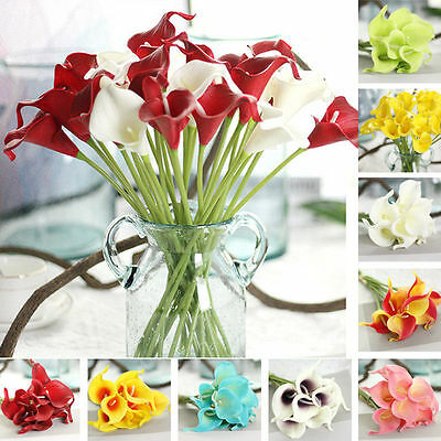 Artificial Real Touch Calla Lily Flower Wedding Bridal Home Garden Decor 10Color