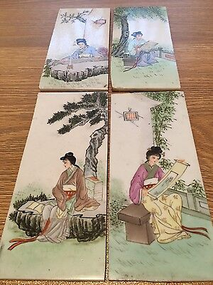 Rare Handpainted Chinese Tiles Plaques