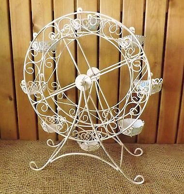 Shabby Chic Vintage Cream Ornate Ferris Big Wheel Display Cup Cake Muffin Stand