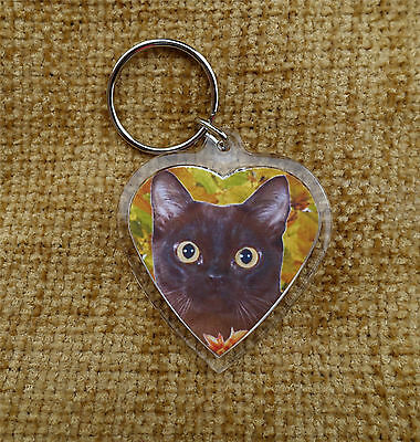Burmese Cat Gift Keyring Cat heart shaped Key Ring Birthday Gift