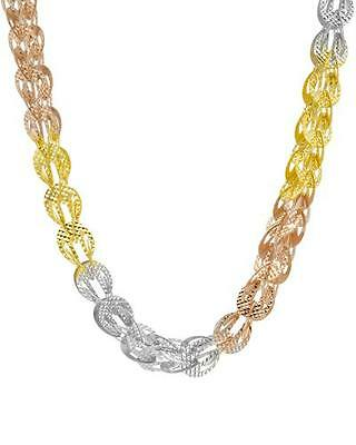 925 Sterling Silver 10K White, Yellow, Rose Gold Plated 3D Chain Set