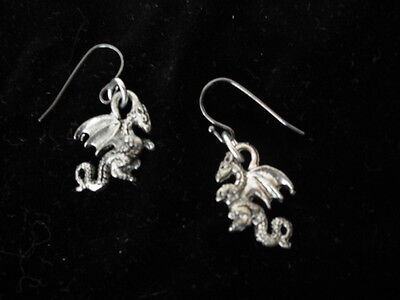 WINGED DRAGON EARRING METAL SILVER-TONE Jewelry Gothic Antiqued look Dangle Hook
