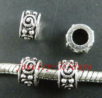 20pcs Tibetan Silver Beads Big Hole Spacers 9x5mm 8824