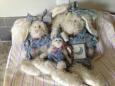 3 Boyds Bears Wearing Floral Rompers Rabbits, Bunnies, Hares Retired HTF*