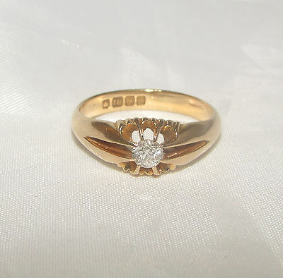 Old antique 18ct gold 0.25 diamond ring size O 1/2 Birmingham dated 1903 -04