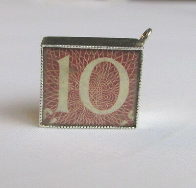 Vintage solid silver 10 Shiling note charm