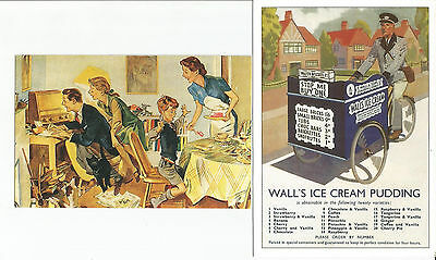 2 Advertising Postcard, Wall's Ice Cream, Nostalgia & Bicycle Series (B)