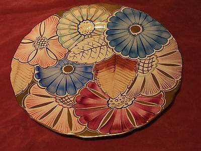 Stunning Art Deco Gray's Pottery Large Hand Painted Susie Cooper Style Plate WOW
