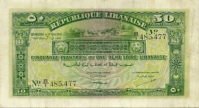 Lebanon ~ 50 Piastres 1942 ~ First Republic Issue ~ P-37 ~ Very Nice Condition