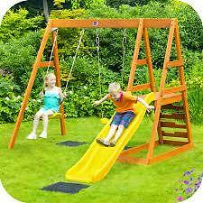 Plum Tamarin Wooden Climbing Frame with Double Swings, Play Deck and Slide.