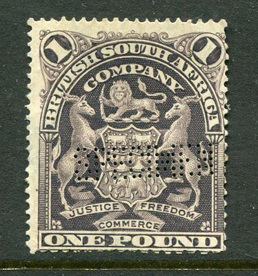 BRITISH SOUTH AFRICA COMPANY 1901 1 POUND £ Unused Perfin SPECIMEN Stamp
