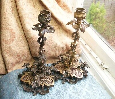 Old Antique Ormolu  Bronze French Naturalistic Pair Candlesticks c.1870 France