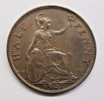 1927 Great Britain Half Penny; AU - Some Lustre.  See Details & Pics.
