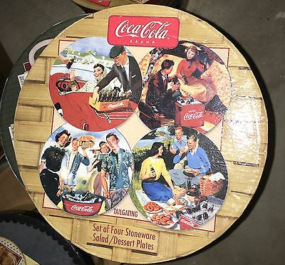 New Sakura Coca Cola Tailgating set of 4 Salad Plates