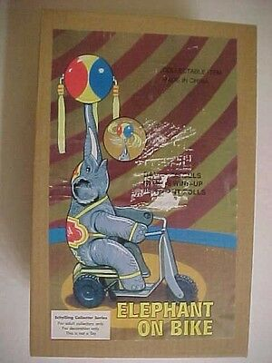 "NWB Schylling 12"" ELEPHANT ON BIKE wind up TOY"