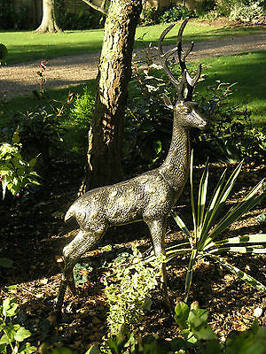 deer garden ornament  ... large stag .... cast aluminium statue NEW