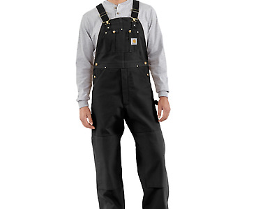 CARHARTT R01 Duck BIB Overalls Unlined NWT Retail $80 BLACK