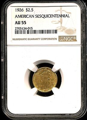 1926 G$2.5 Sesquicentennial Commem Gold Quarter Eagle AU55 NGC 2705134-015