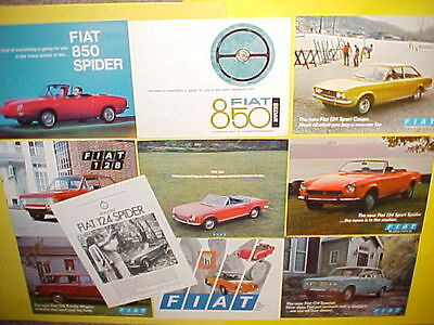 1967 1968 1970 1971 Fiat 850 Spider Bertone 124 128 Brochures Catalogs Lot Of 10