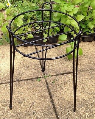 2 x Large Black Metal Plant Stands for Patio Pot Display
