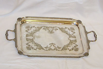 Large Ornate Antique Silver Plate Serving Platter Tray By Cooper Bros Sheffield.