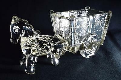 Art Deco Depression Glass Cart/Wagon and Horse, Jeanette Glass Co., USA