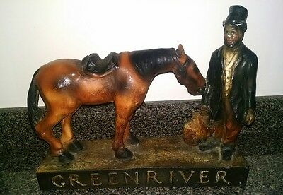 Early Vintage GREEN RIVER WHISKEY Chalkware Figural Bar Advertising Display