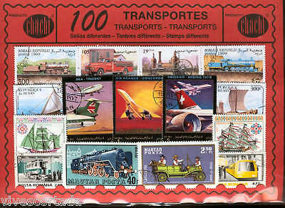 100 stamps different world in used @@ Theme : TRANSPORT @@