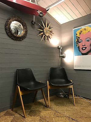 Pair 1960's Hille Robin Day Polyside Chair in Charcoal with Beech Base