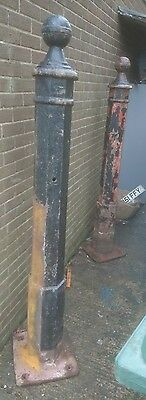 antique reclaimed cast iron gateposts 2 meters high, pair