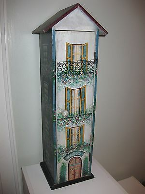Vintage Looking Painted Wood CD Cabinet Tower Stand