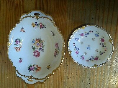 Vintage porcelain bowls (2) Reichenbach with gold rim Germany