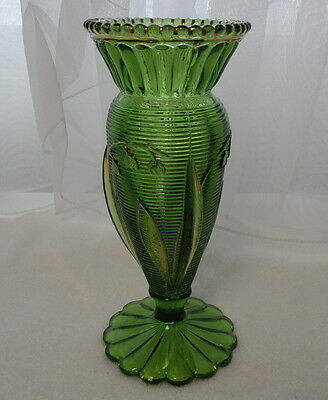 "VINTAGE Antique EAPG Pattern Glass 6 1/8"" LILY OF THE VALLEY Green & Gold VASE"