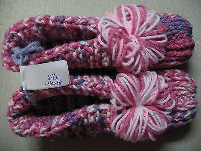 """NWOT Amish Handmade Knit Slippers w/Cuffs Raspberry Wms Sm/Med Mans X Sm 8 1/2"""""""
