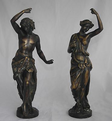 After GOUJON Pair of Antique French Bronzes - Male with Lion Skin & Female 36cm