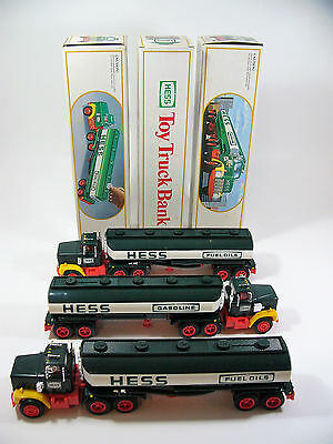 Lot of 3 Hess Fuel Oils 1984 TANKER BANK w/ BOXES For Parts Rebuild - toy truck