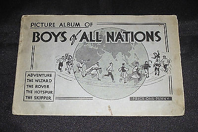 D.C. THOMSON BOYS OF ALL NATIONS PICTURE ALBUM inc. 55/80 cards - 1936 GOOD COND