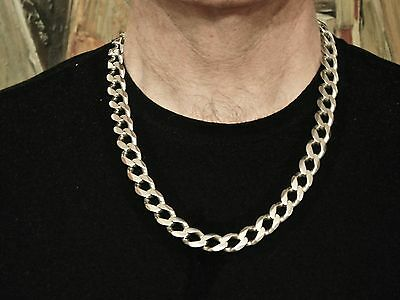 Heavy Solid Silver 925 Curb Link 24 inch Mens Necklace - 147 grams
