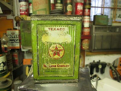 Original Early Texaco Black Tee Spica Oil Pint Can By The Texas Oil Co. Full