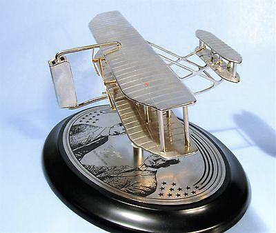 Wright Bros. First Airplane Silver Metal Replica Shelf Model Noble Collection