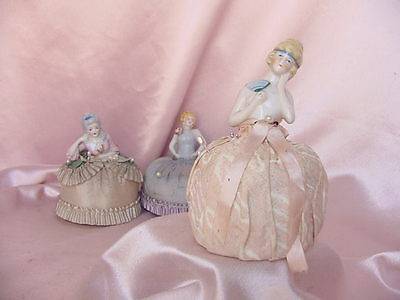 Antique Porcelain Half Doll Pin Cushion Vintage Deco Flapper Lady Figure #2