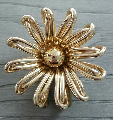 Vintage DEPOSE French Art Deco gold tone flower Fur clip RARE