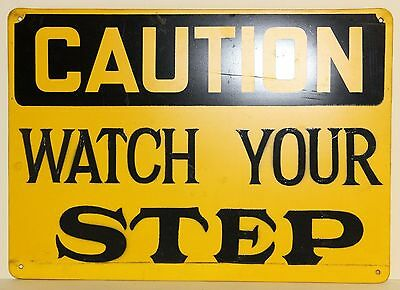 "Plastic Safety Sign Caution Watch Your Step 14"" Length 10"" Width"