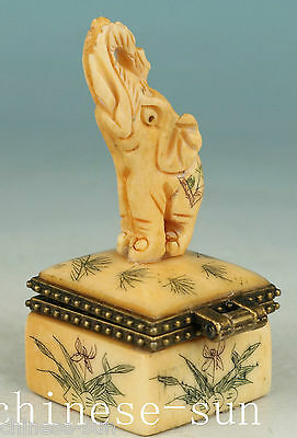 Lucky Chinese Old Handmade Carving Elephant Collect Statue Snuff Box Not plastic