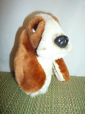 "Vintage 6"" Hush Puppies Bassettt Hound Dog Stuffed Plush HUSH Puppy Dog 1980's"