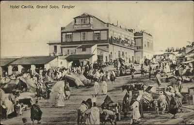 Hotel Cavilla Grand Soko Tangier c1908 Used Postcard Cancels Stamp Franking PC